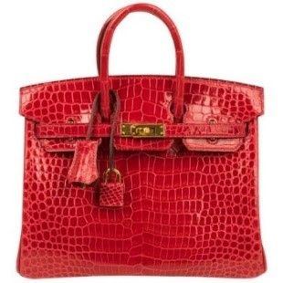 Hermes Birkin 25 Bag Braise Porosus Crocodile Gold Hardware Lipstick Red  For Sale