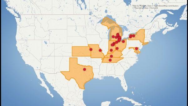 general motors strike map